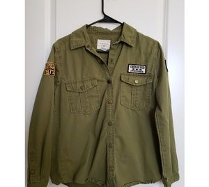 NWOT Women's F21 Patched Button Down Army Jacket